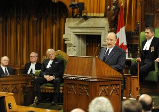 Mawlana Hazar Imam delivers a historic address to a joint session of the Parliament of Canada on 27 February 2014, at the invitation of Prime Minister Stephen Harper.