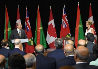 Mawlana Hazar Imam speaking after the signing of a historic agreement between the Ismaili Imamat and the Province of Ontario.