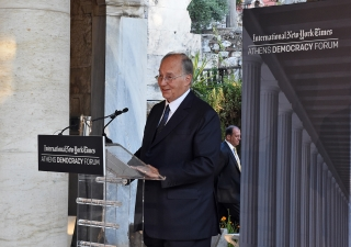 Mawlana Hazar Imam speaking at the Stoa of Attalos in Athens where he delivered a Keynote Address at the Athens Democracy Forum on the International Day of Democracy.