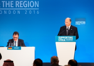Mawlana Hazar Imam speaking at the Supportng Syria and the Region Conference in London.