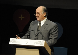 Mawlana Hazar Imam addresses the Marketplace on Innovative Financial Solutions for Development in Paris on 4 March 2010.
