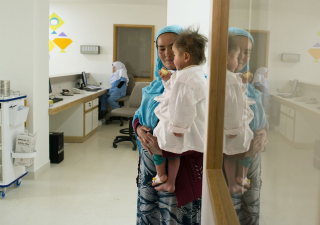 The Aga Khan Health Services (AKHS) began operating the Bamyan Hospital in 2004. Today it is a state-of-the-art 141-bed facility: over half of the building's power is supplied by solar panels located on a hilltop behind the hospital.