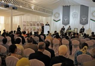 Mawlana Hazar Imam speaking at the foundation stone laying ceremony of the Aga Khan Academy in Dhaka.