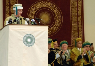 Mawlana Hazar Imam, Chancellor of AKU, addresses the Convocation gathering.