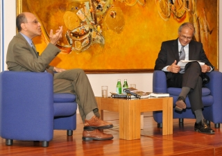 Dr Amyn Sajoo and Raficq Abdulla on stage during the book launch at the Ismaili Centre, London.