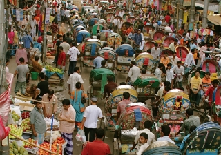 A busy street in Bangladesh's capital city.
