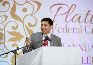 Kabir Laiwalla addresses the audience at the Annual Shareholders' Meeting.