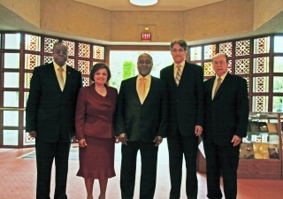 Gathered at the Ismaili Centre, Burnaby (L to R): His Excellency George Abola, High Commissioner for Uganda in Ottawa; Samira Alibhai, President of the Ismaili Council for British Columbia; His Excellency Professor Gilbert Bukenya, Vice President of Ugand