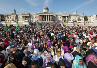 Huge crowds packed Trafalgar Square for Eid celebrations in London.