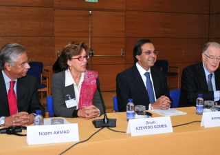AKDN Representative Nazim Ahmad, Dinah Azevedo Gomes, Ismaili Council for Portugal President Amirali Bhanji, and UN High representative for the Alliance of Civilizations Dr Jorge Sampaio participate in the proceedings of the 2009 Lisbon Forum hosted at th