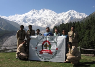 Scouts & Guides at base camp at Nanga Parbat