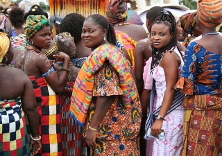 Kente cloth worn at a festival in Kpetoe Agotime, in the Volta region of Ghana. The colours and patterns of the cloth convey different meanings and are said to symbolically preserve the history, ethics and moral values of the people.