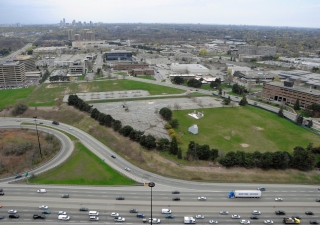 An aerial view of the Wynford Drive site, which is being developed into a park where the Ismaili Centre, Toronto and the Aga Khan Museum will be situated. The site is clearly visible from the adjacent Don Valley Parkway thoroughfare.
