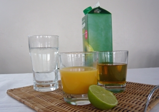 Water and fruit juices are among the sources of fluid that can keep you hydrated, and count towards your 6–8 glasses per day.