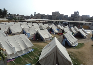 A tent village established by FOCUS to house those displaced by the torrential rains that struck Sindh in August 2010.