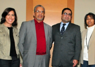 Saloni Firasta-Vastani, Member of the Ismaili Council for the Southeastern United States, Imam Plemon El-Amin, and Priyanka Sinha, Director of Communications and Marketing at the Michael C. Carlos Museum gather with Dr. Hussein Rashid (second from the rig