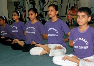 Yoga enthusiasts at the Karimabad Fitness Centre.