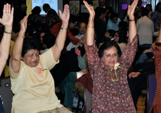 Participants at the Seniors Fair learn new exercise routines to improve their health and wellbeing.