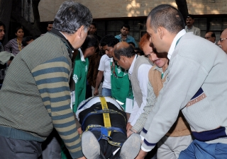 Participants rescue a casualty in a mock drill organised by FOCUS as part of the Delhi Emergency Management Exercise.