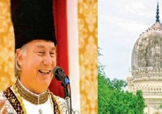 His Highness the Aga Khan during the golden jubilee of his Imamat in 2007 and (right) the tomb of Fatima Sultana which is being conserved by the Aga Khan Trust for Culture.