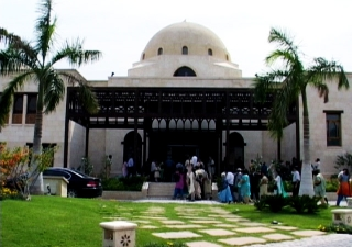 Visitors arriving for a tour of the Ismaili Centre, Dubai.