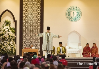Mawlana Hazar Imam addresses the Jamat during the Diamond Jubilee Darbar held at Dubai World Central.