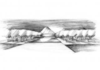 A conceptual pencil sketch of the Aga Khan Park in Toronto, designed by landscape architect Vladimir Djurovic. AKTC