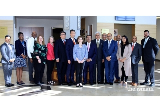The Texas delegation with former Texas Secretary of State Rolando Pablos, University of Texas System Board of Regent Christina Crain, and leadership from the University of Texas at Dallas.