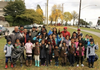 Beavers and Cubs from the 13th Burnaby Ismaili Scout Group helped clean up Highland Park Line Trail in Burnaby.