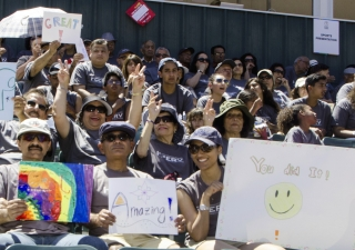 Ismaili fans fill the stands to cheer on athletes at the Los Angeles Special Olympics. Ismaili Council for the USA