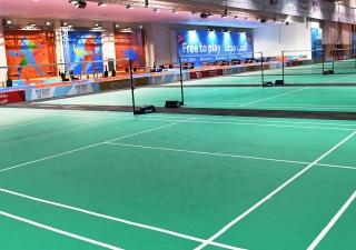 Tennis courts at Dubai Sports World located at the Dubai World Trade Centre. Akber Dewji