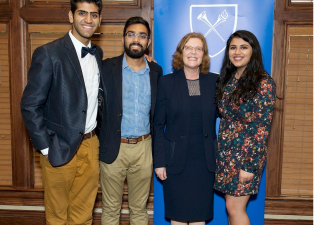 Emory University's President Claire Sterk honors three Ismaili graduates as Emory University's 100 Senior Honorary for 2017. (From left): Naveed Noordin, Areesh Abdulla, President Sterk, and Karishma Ratnani.