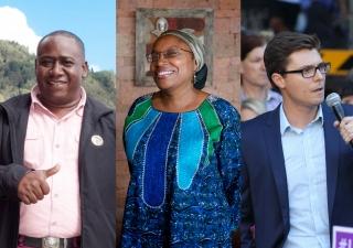 Left to right: Global Pluralism Award winners Leyner Palacios Asprilla of Colombia, Alice Wairimu Nderitu of Kenya, and Daniel Webb of Australia.