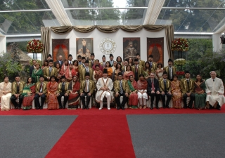 Mawlana Hazar Imam together with leaders of the Jamat from around the world at Aiglemont on the occasion of the inauguration of the Golden Jubilee on 11 July 2007. Zahur Ramji