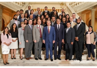 Governor Kemp takes a picture with the Ismaili Muslim community of Georgia celebrating Navroz at the State Capitol.