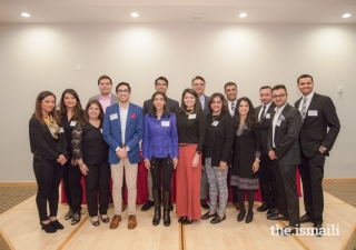 Murad Abdullah, President of the Ismaili Council for the Southeast, and Gulzar Ajani, Community Building member for the Ismaili Council, pose with panelists and volunteers who organized the Ivy League Connect.
