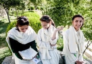 Students at the Aga Khan Higher Secondary School Hunza, Gilgit-Baltistan.