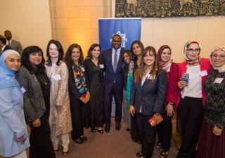 Mayor Kasim Reed poses with women attending Atlanta's first Iftar dinner in June 2017.