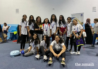Young girls from the Dubai Jamat form the Oceans X team, the winning team of the Innovation Award at the UAE First Lego League Competition.