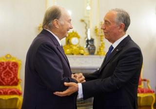 President Marcelo Rebelo de Sousa welcomes Mawlana Hazar Imam at Belém Palace, the official residence of the President of Portugal. AKDN / Luis Filipe Catarino