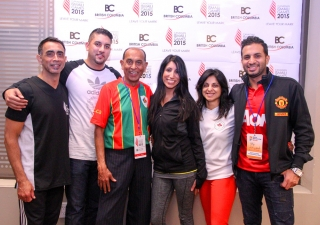 BC Ismailis pose for a photograph at a Vancouver pep rally ahead of the Canadian Ismaili Games to be held in Calgary between 31 July - 3 August 2015. Ismaili Council for BC