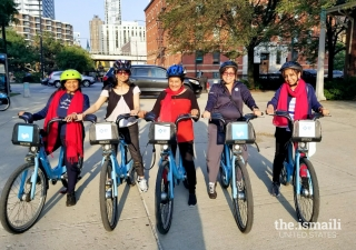 Midwest Ismaili Women's Group biking through the Park District in Chicago.