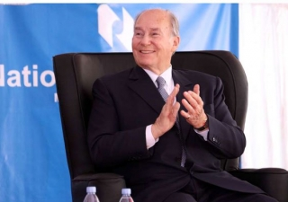 His Highness the Aga Khan applauds during the launch of Nation Media Group's press on Mombasa road on March 17, 2016.