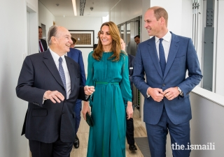 Mawlana Hazar Imam shares a light moment with Their Royal Highnesses the Duke and Duchess of Cambridge.