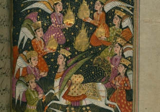 The folio depicts several angels, along with Buraq, the winged horse the holy Prophet is said to have ridden on Mi'raj.