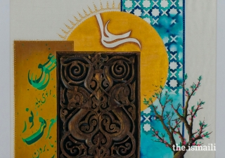 In this work of art, the sun and star bear the name of Hazrat Ali, while the wood panel from the Fatimid period pays homage to the rich historic artistic traditions of the Ismaili community. ARTWORK: JUBILEE ARTS / NASIM ATAOLLAHI