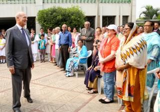Prince Amyn with members of the Jamat, who had gathered at the Ismaili Jamatkhana and Centre, Dhaka to greet him. AKDN Bangladesh