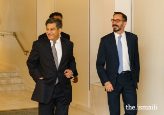 Prince Rahim and President Naushad Jivraj share a light moment shortly before departing the Ismaili Centre.