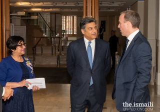 Dominic Raab, Secretary of State for Foreign and Commonwealth Affairs in conversation with Naushad Jivraj, President of the Ismaili Council for the UK, during a guided tour of the Ismaili Centre, London.