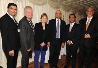 MPs Angie Bray, Eric Ollerenshaw and Secretary of State Sajid Javid, with Ismaili Council President Amin Mawji and other Jamati leaders at the Houses of Parliament Navroz reception. Riaz Kassam